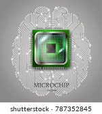 realistic microchip with... | Shutterstock .eps vector #787352845