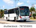 Small photo of Cancun, Mexico - May 16, 2017: Suburban bus Beccar Urviabus at the interurban road.
