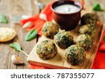 cheese spinach balls with greek ... | Shutterstock . vector #787355077