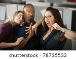handsome man tries to calm... | Shutterstock . vector #78735532