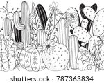 black and white doodle seamless ... | Shutterstock .eps vector #787363834