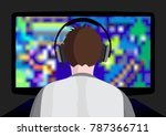 playing computer game | Shutterstock .eps vector #787366711