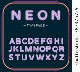 modern trendy neon alphabet on... | Shutterstock .eps vector #787375759