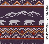 winter knitted woolen pattern... | Shutterstock .eps vector #787375861