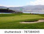 golf course green with ocean... | Shutterstock . vector #787384045