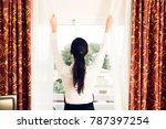 maid making a hotel room | Shutterstock . vector #787397254
