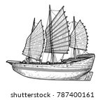 junk boat illustration  drawing ... | Shutterstock .eps vector #787400161