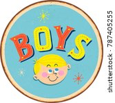 vintage metal sign   boys  ... | Shutterstock .eps vector #787405255