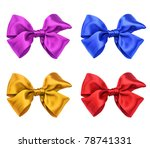 four color satin ribbon bows | Shutterstock . vector #78741331