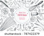 italian pasta top view frame.... | Shutterstock .eps vector #787422379