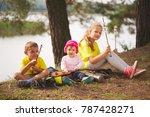 happy children hiking in the...   Shutterstock . vector #787428271