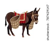 donkey with wicker baskets.... | Shutterstock .eps vector #787429147