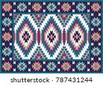 Colorful Mosaic Oriental Kilim...