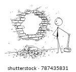 cartoon stick man drawing... | Shutterstock .eps vector #787435831