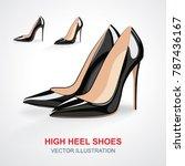 High Heels Shoes Set. Vector...