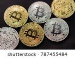 bitcoins and new virtual money... | Shutterstock . vector #787455484