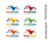 premium real estate logo... | Shutterstock .eps vector #787459129