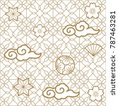 japanese pattern vector. gold... | Shutterstock .eps vector #787463281