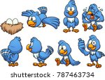 cartoon blue bird in different... | Shutterstock .eps vector #787463734