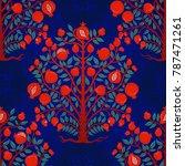 vintage pomegranate tree.... | Shutterstock .eps vector #787471261