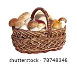 A Mushrooms In Basket