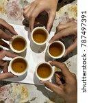 five cups of tea | Shutterstock . vector #787497391