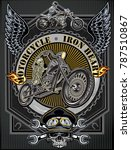 vintage motorcycle label | Shutterstock . vector #787510867