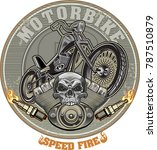 vintage motorcycle label | Shutterstock . vector #787510879
