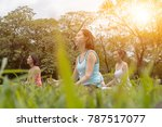 group of woman doing morning... | Shutterstock . vector #787517077