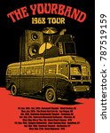 rock band tour poster flyer... | Shutterstock .eps vector #787519159