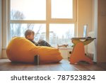 child and laptop. little boy on ...   Shutterstock . vector #787523824