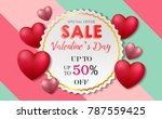 valentines day card big sale... | Shutterstock . vector #787559425