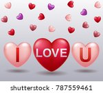 i love u text in ballon... | Shutterstock .eps vector #787559461