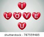 i love u text in ballon... | Shutterstock .eps vector #787559485