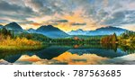 mountain lake strbske pleso ... | Shutterstock . vector #787563685