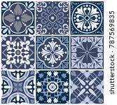 vector set of nine abstract... | Shutterstock .eps vector #787569835