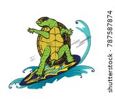 cartoon character of turtle in...   Shutterstock .eps vector #787587874