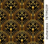 seamless golden art deco...   Shutterstock .eps vector #787590259
