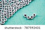word work made with round block. | Shutterstock . vector #787592431