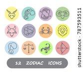 12 zodiac horoscope icons... | Shutterstock .eps vector #787593511