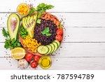 black rice  avocado  cucumber ...   Shutterstock . vector #787594789