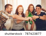 friends enjoying with beer and... | Shutterstock . vector #787623877
