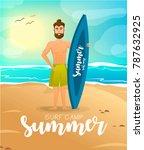 surfer at the beach. cartoon...   Shutterstock . vector #787632925