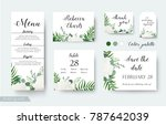 Stock vector wedding cards floral design rsvp menu table number thank you save the date guest card label 787642039
