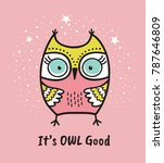 cute hand drawn owl with quote. ... | Shutterstock .eps vector #787646809
