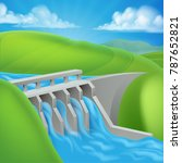 hydroelectric hydro water power ... | Shutterstock .eps vector #787652821