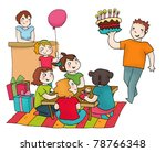 a birthday party of a girl with ... | Shutterstock . vector #78766348