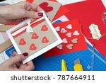 scrapbook background. girl... | Shutterstock . vector #787664911