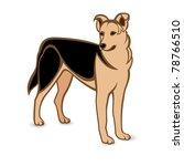 Realistic German Shepherd. Illustration on white background - stock vector