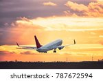 airplane taking off from the... | Shutterstock . vector #787672594